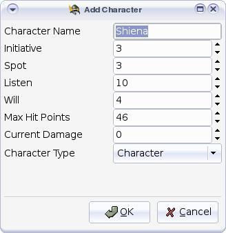 Add Character dialog