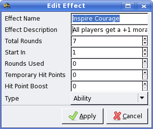The effect edit form.