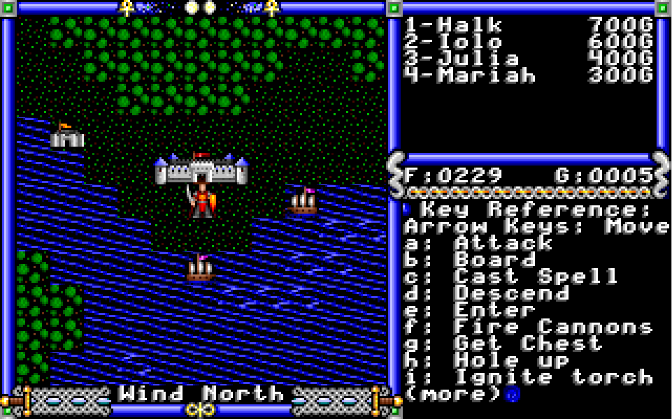 Ultima IV screen sample with the Help showing up.