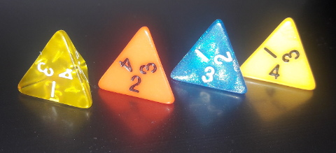 Four 1d4 dice showing 1, 2, 3, 4 rolls