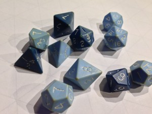 "Old D&D Dice from the original ""The Basic Set"" box."